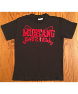 NEW BOY'S SZ M 10-12 C PORT&CO BLACK & RED SHORT SLEEVE MUSTANG BASEBALL... - $5.99