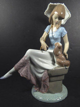 New In Box Lladro #7612 Picture Perfect Lady With Parasol & Puppy Figurine $695 - $395.99
