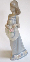 New In Box Lladro Figurine Cathy # 5643 Girls With Straw Hats Intricate Flowers - $168.29