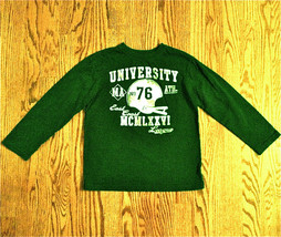 PLACE BOYS GREEN LONG SLEEVE T-SHIRT SZ M 7-8 FOOTBALL MA EAST COAST LEA... - $6.92