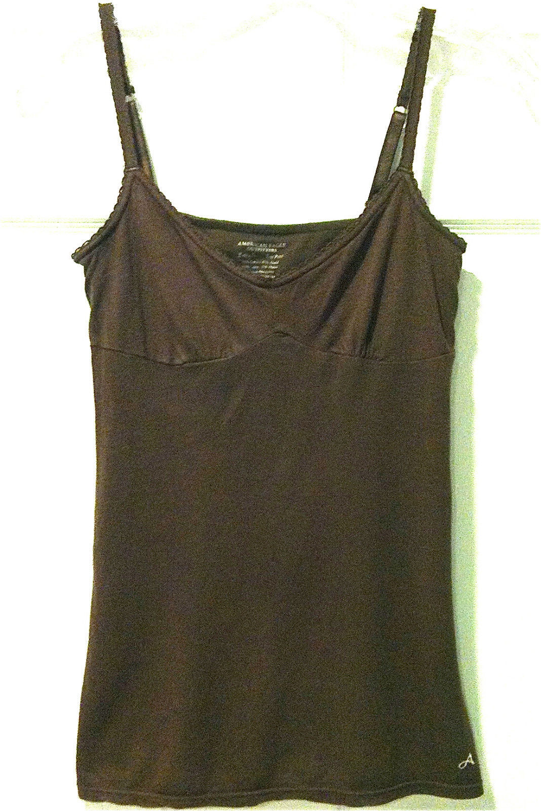 WOMENS AMERICAN EAGLE OUTFITTERS SZ XS BROWN CAMI TOP W/BRA ADJUSTABLE STRAPS - $7.99