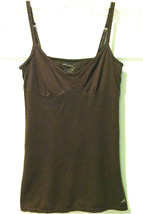 WOMENS AMERICAN EAGLE OUTFITTERS SZ XS BROWN CAMI TOP W/BRA ADJUSTABLE S... - $7.99