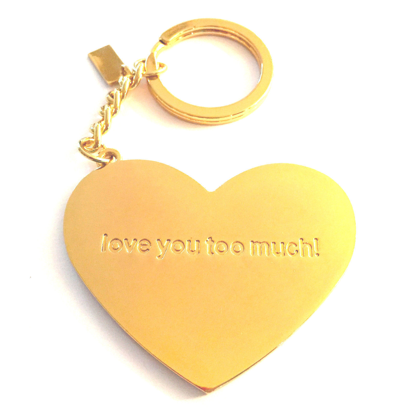 """NEW Lilly Pulitzer Pink Heart Gold Tone Key Ring Keychain """"LOVE YOU TOO MUCH!"""""""