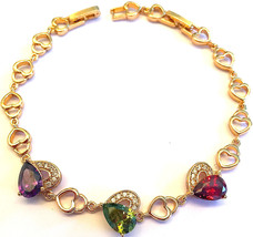 NEW Premier Designs 9K Yellow Gold Filled Multicolor CZ Ladies Heart Bra... - $17.81