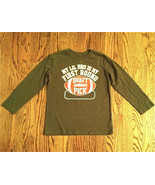 PLACE BOYS BROWN LONG SLEEVE T-SHIRT SZ M 7-8 FOOTBALL 1ST ROUND DRAFT P... - $7.91