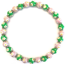 NEW ANGELA MOORE NECKLACE PINK & GREEN WITH WHITE & YELLOW DAISIES NEW I... - $52.99