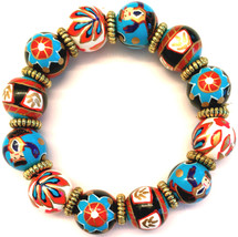 NEW ANGELA MOORE BLUE BROWN RED BRACELET WITH MONKEYS FLOWERS STARS - $29.69