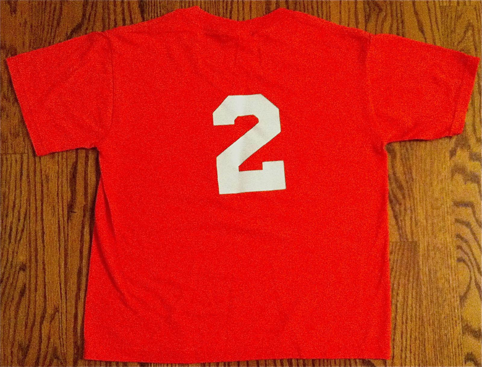 "NEW JERZEES BOYS ORANGE T-SHIRT SZ M 10-12 ""W. JENNINGS CO"" ON FRONT ""2"" ON BACK image 2"