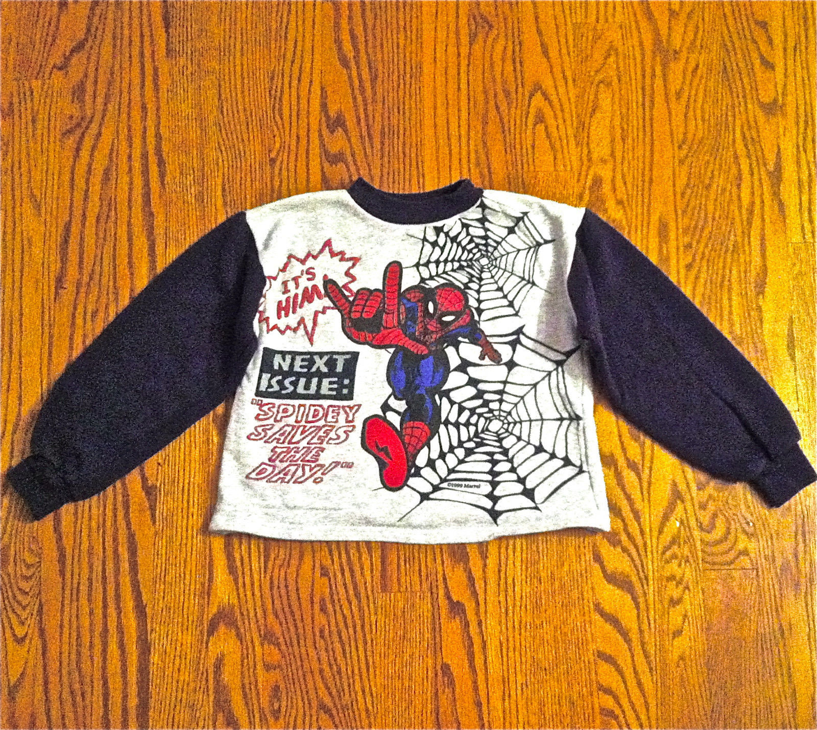 MARVEL COMICS BOYS LONG SLEEVE SPIDER MAN FLEECE SWEATSHIRT SZ L 7 GRAY RED NAVY