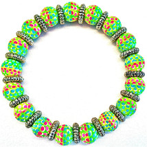 NEW ANGELA MOORE BRACELET GREEN BLUE PINK RED GOLD SPACERS - $29.69
