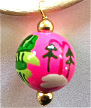 ANGELA MOORE NECKLACE PINK BEAD WINTER SCENE GREEN HOUSE TREES SNOW ON CORD - $14.84