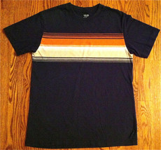 NEW BOYS CHEROKEE ULTIMATE T-SHIRT SZ L NAVY W/ORANGE & TAN STRIPE - $4.99