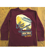 NEW PLACE BOYS BURGUNDY LS T-SHIRT SZ M 7-8 AMERICAN FOOTBALL NY STATE D... - $7.91