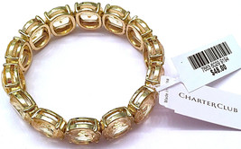 NWT $48 CHARTER CLUB CRYSTAL & GOLD COLORED STRETCH BRACELET - $29.99