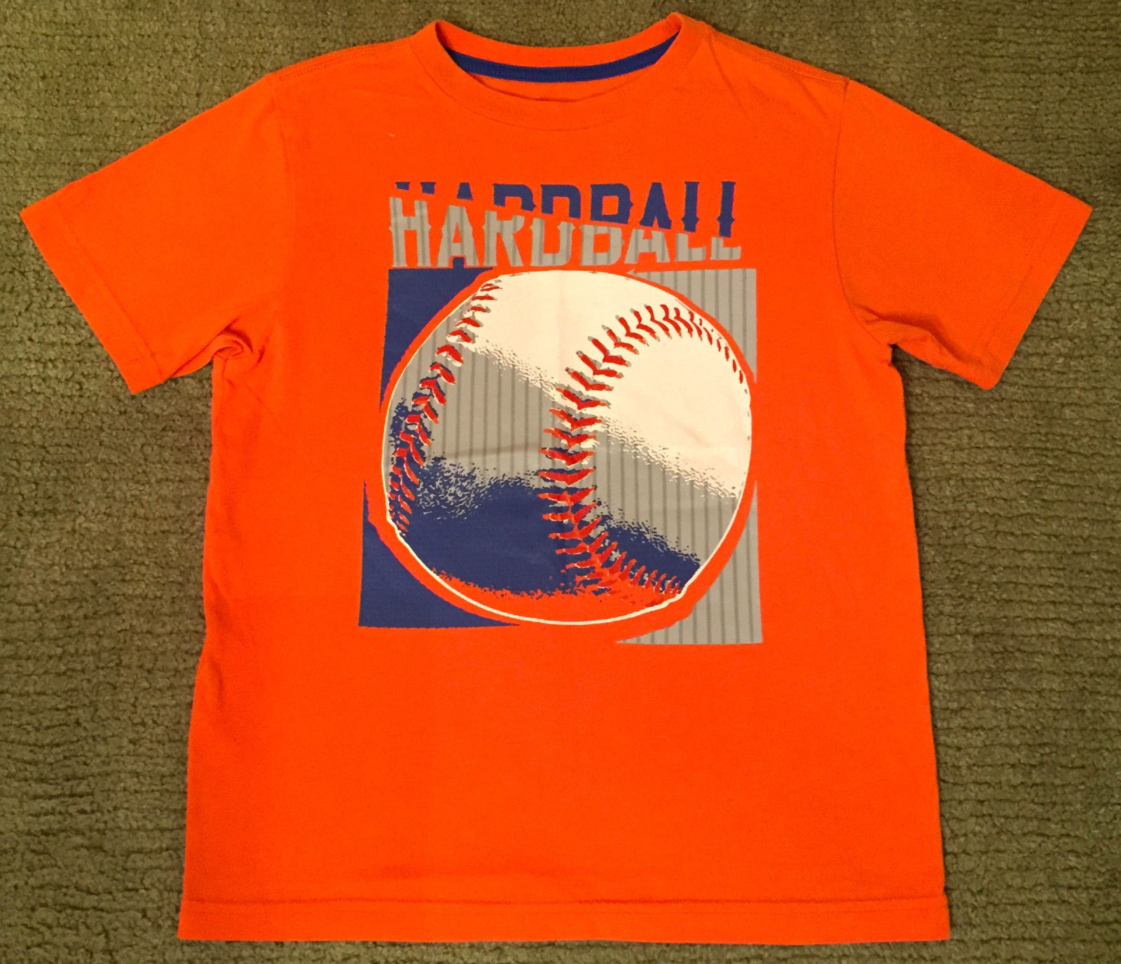 NEW BOY'S SZ M OLD NAVY ORANGE SHORT SLEEVE T-SHIRT BASEBALL HARDBALL