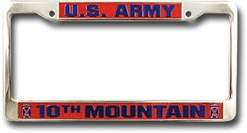 10th mountain division license plate frame 10072