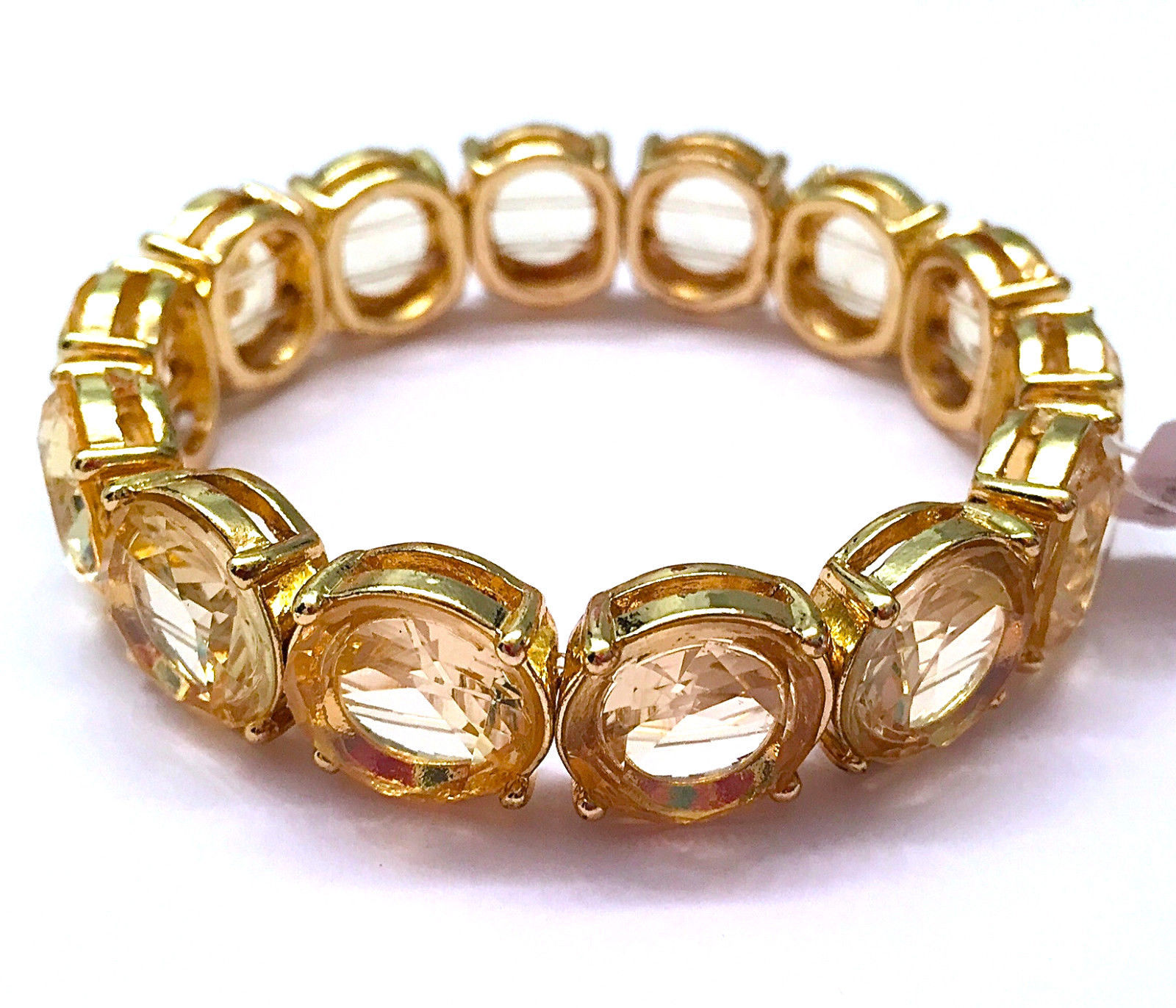 NWT $48 CHARTER CLUB CRYSTAL & GOLD COLORED STRETCH BRACELET