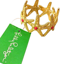 NWT Lilly Pulitzer Gold Fashion Starfish Cuff Stretch Bracelet Red & Whi... - $29.99
