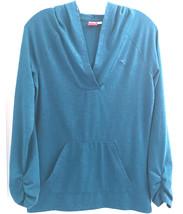 Womens Sz S Puma Hooded Blue Stretchy Knit Top Jacket Coat Gathered Sleeves Euc - $14.84