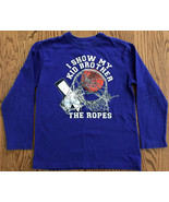 "PLACE BOYS BLUE T-SHIRT SZ M 7-8 BASKETBALL ""I SHOW MY KID BROTHER THE R... - $7.91"