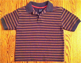 Gap Kids Boy's Polo Short Sleeve Navy Green Orange Stripe Shirt Sz S 5 6 Euc - $7.99