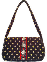 New Vera Bradley Black Gold Red Purse Handbag Flap Top Shoulder Bag Magnet Close - $15.83