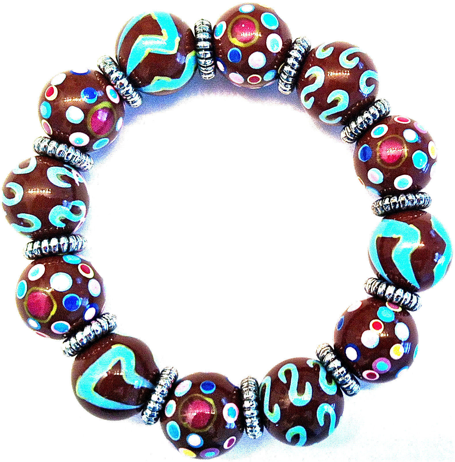 NEW ANGELA MOORE BROWN TEAL PINK BRACELET SILVER SPACERS POLKO DOTS & STRIPES