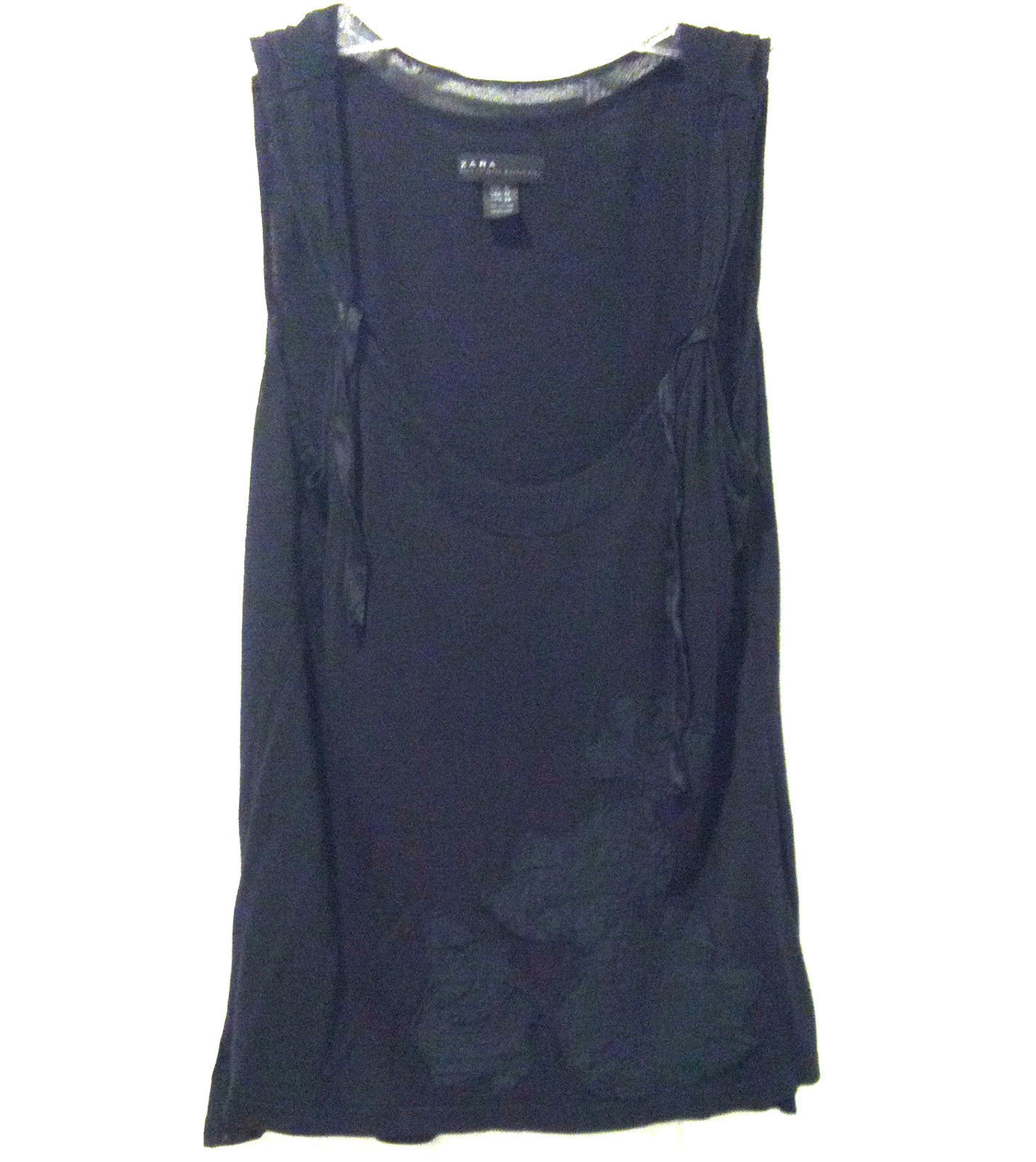 3a51f00126696b WOMENS ZARA COLLECTION SZ M BLACK VISCOSE KNIT TANK TOP WITH FLOWERS ON  FRONT