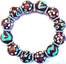 NEW ANGELA MOORE BROWN TEAL PINK BRACELET SILVER SPACERS POLKO DOTS & STRIPES image 3
