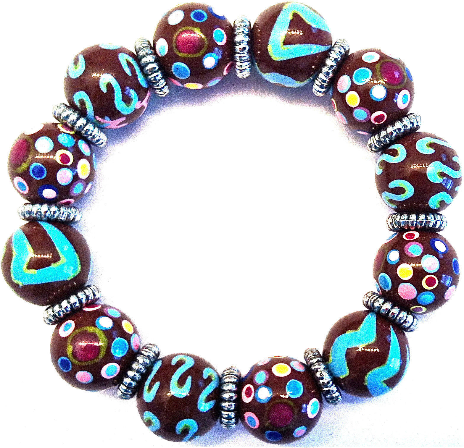 NEW ANGELA MOORE BROWN TEAL PINK BRACELET SILVER SPACERS POLKO DOTS & STRIPES image 2