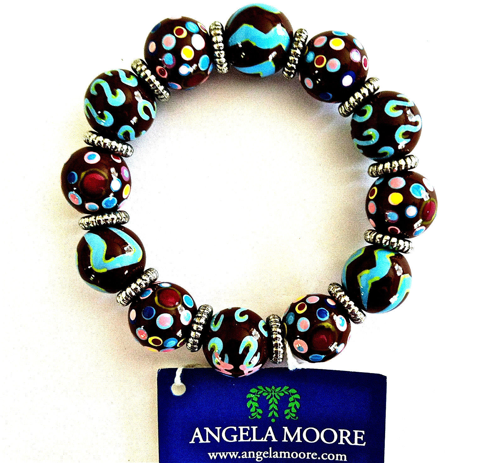 NEW ANGELA MOORE BROWN TEAL PINK BRACELET SILVER SPACERS POLKO DOTS & STRIPES image 5
