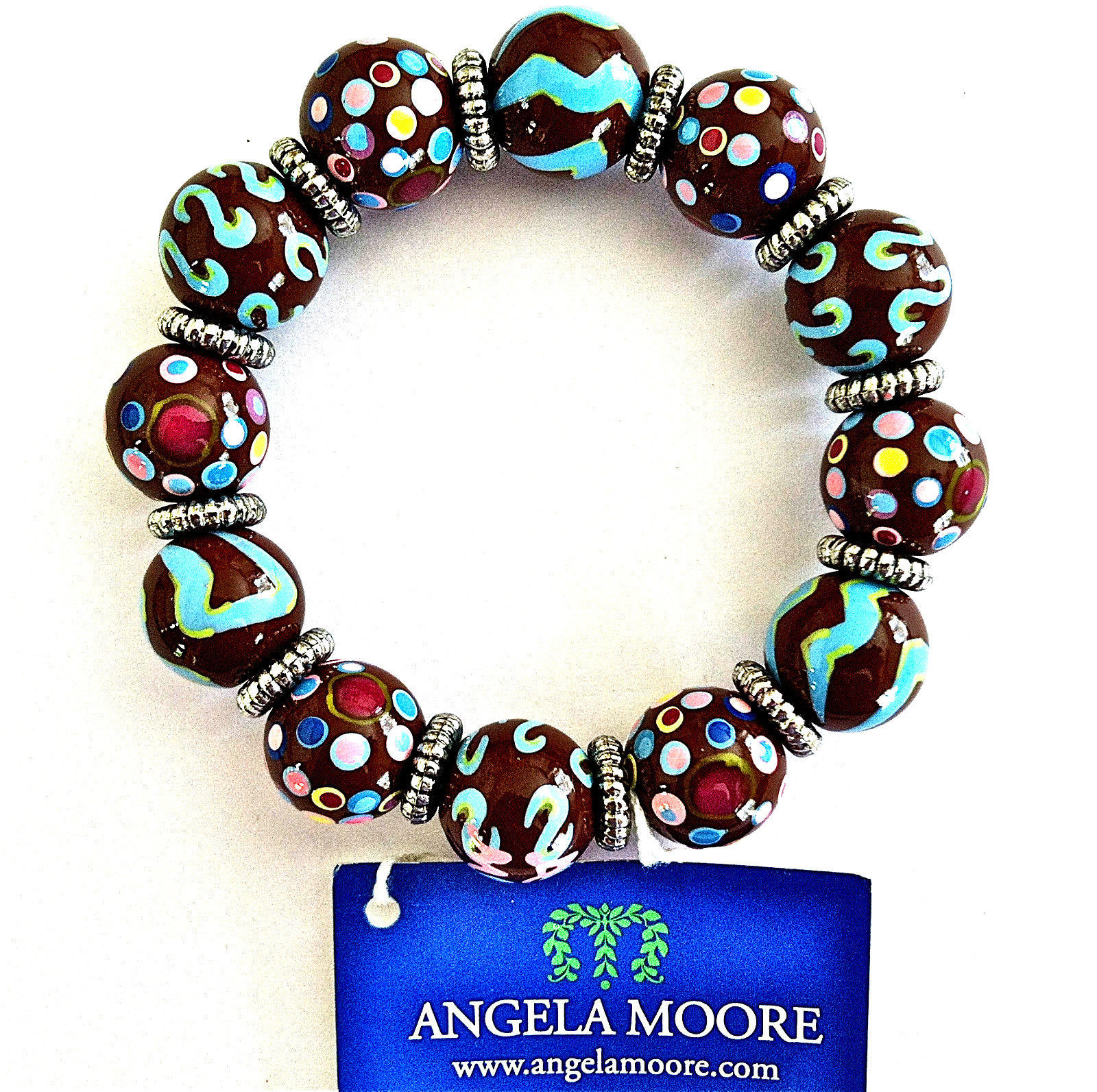 NEW ANGELA MOORE BROWN TEAL PINK BRACELET SILVER SPACERS POLKO DOTS & STRIPES image 4
