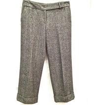 New Ann Taylor Womens Sz 6 Wool Lined Cuffed Herringbone Capri Pants 4 Pockets - $19.79