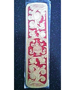 """WOODEN RED ORNATE CARVED BOOKMARK FROM NEPAL 6.5"""" x 1.75"""" NEW IN PKG - $3.99"""