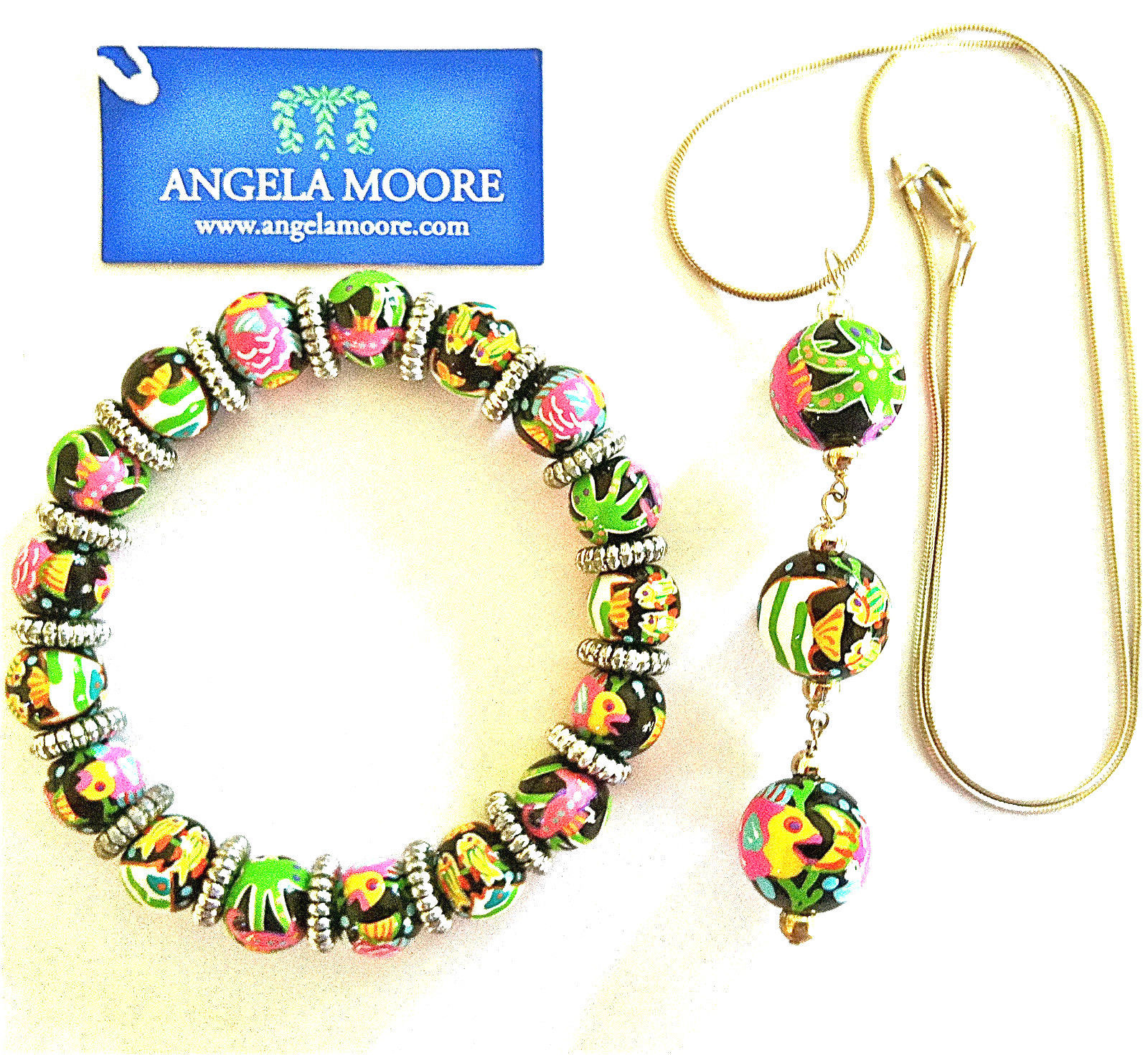 """NWT ANGELA MOORE NECKLACE & BRACELET HOT TROPICS WITH FISH SILVER 18"""" CHAIN"""