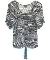 NEW A. BYER SZ L BLACK & WHITE GEOMETRIC DESIGN RAYON BUTTON UP BLOUSE W... - $15.99