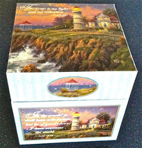 "NEW THOMAS KINKADE LIGHTHOUSE SCRIPTURED GIFT BOX STORAGE 6.25"" SQUARE S... - $8.99"