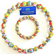 NWT ANGELA MOORE NECKLACE & BRACELET LOVE BLUE PINK ORANGE YELLOW GOLD - $79.19