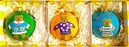 "NEW 3 ANGELA MOORE HANDPAINTED TEDDY BEAR ""BABY'S DELIGHT"" CHRISTMAS ORN... - $24.99"