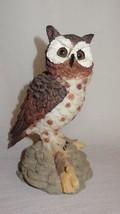 Vintage Owl Sitting on Branch Rocks Figurine Resin Brown White Gray Chin... - $21.04