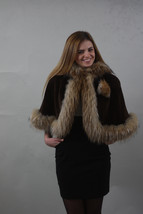 Luxury gift/ Full skin brown sheared mink with fin racoon /hooded/fur stole/ Wed - $650.00
