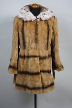 Luxury gift / Nutria fur coat with spotted fox hood/ Fur jacket Full skin/ Hoode - $599.00