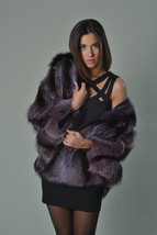 Luxury gift/Purple Raccoon Fur Capefur coat/Fur jacket/ Full Skin with h... - $1,099.00