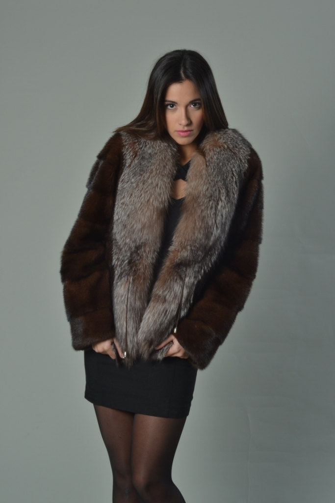 Luxury gift/ Mahogany Mink fur coat/Fur jacket Full Skin with Crystal fox collar