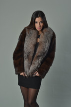 Luxury gift/ Mahogany Mink fur coat/Fur jacket Full Skin with Crystal fox collar image 1