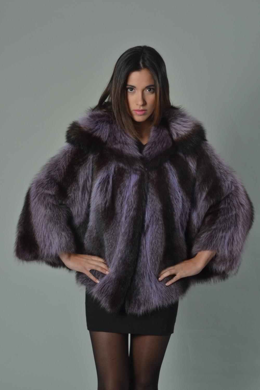 Luxury gift/Purple Raccoon Fur Capefur coat/Fur jacket/ Full Skin with hood/ Wed image 2