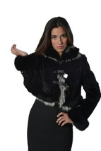 Luxury gift/Black Persian Lamb Coat with fox cuffs and collar / Wedding,... - $999.00