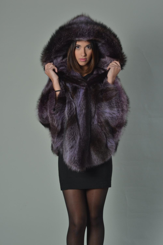 Luxury gift/Purple Raccoon Fur Capefur coat/Fur jacket/ Full Skin with hood/ Wed image 3