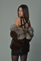 Luxury gift/ Mahogany Mink fur coat/Fur jacket Full Skin with Crystal fox collar image 3