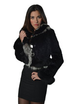 Luxury gift/Black Persian Lamb Coat with fox cuffs and collar / Wedding,or anniv image 2